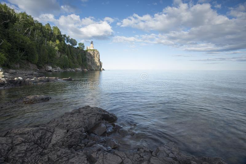 Split Rock Lighthouse in Minnesota. Split Rock lighthouse and reflection in summer on North shore of Lake Superior royalty free stock photos
