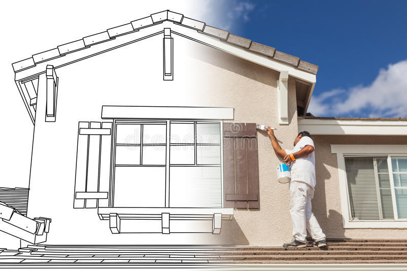 Split Screen of Drawing and Photo of House Painter Painting Home royalty free illustration