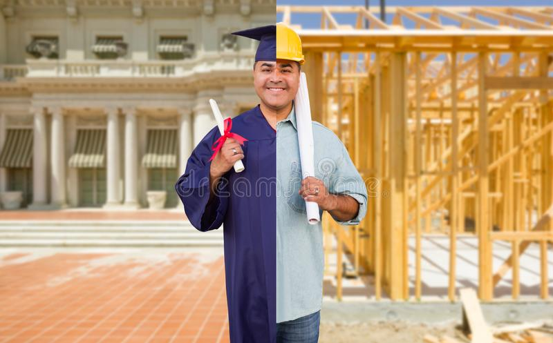 Split Screen Male Hispanic Graduate In Cap and Gown to Engineer in Hard Hat Concept.  stock photo