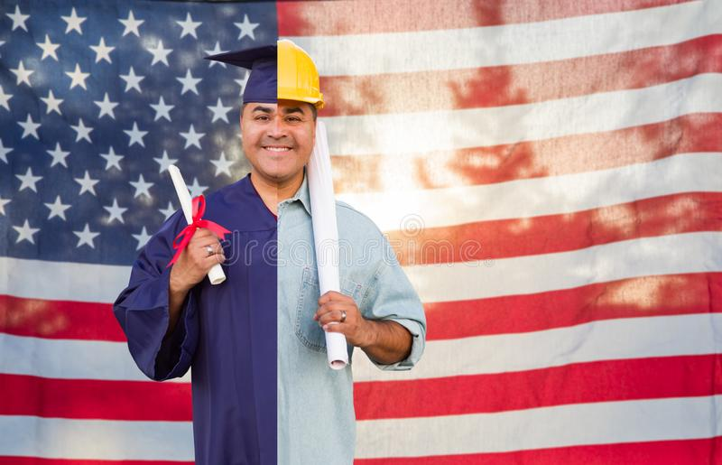 Split Screen Male Hispanic Graduate In Cap and Gown to Engineer in Hard Hat in Front Of American Flag.  stock images