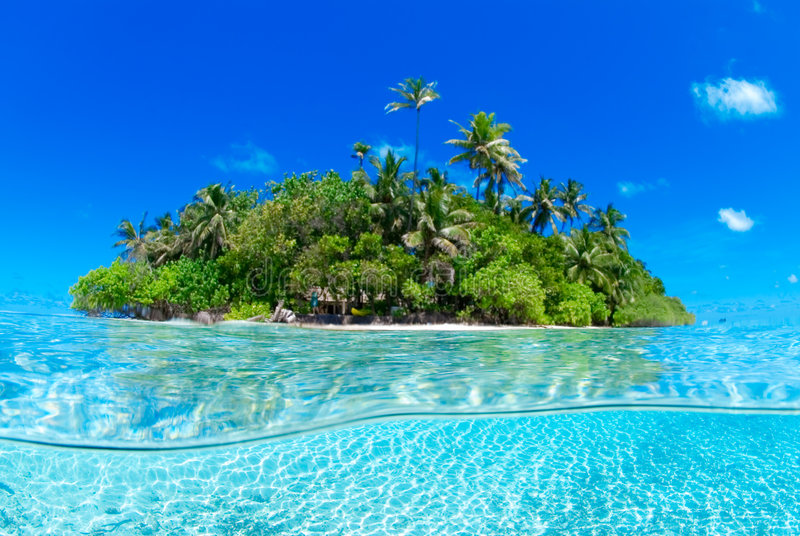 Split shot of tropical island royalty free stock photo