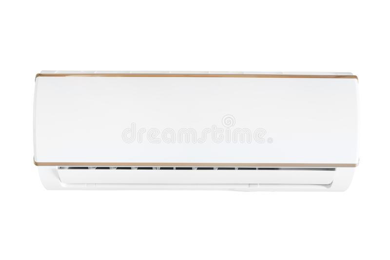 Split system air conditioning unit isolated with clipping path. White split system air conditioning unit. Isolated on white, clipping path included stock images