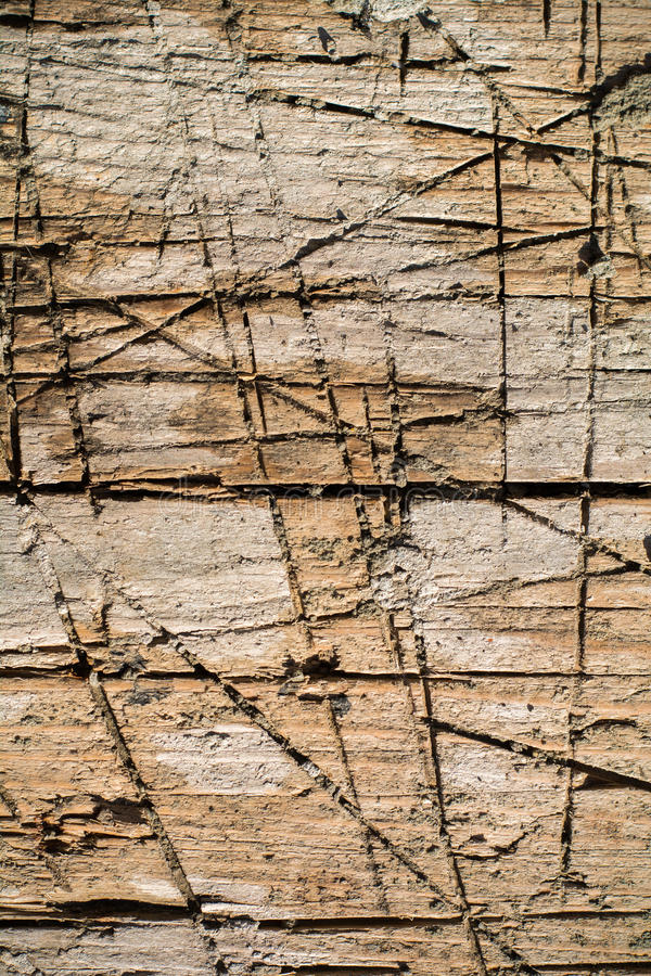 Split ted wood with different shades and covered with deep cuts and scratches. Half split ted wood with different shades and covered with deep cuts and scratches stock image