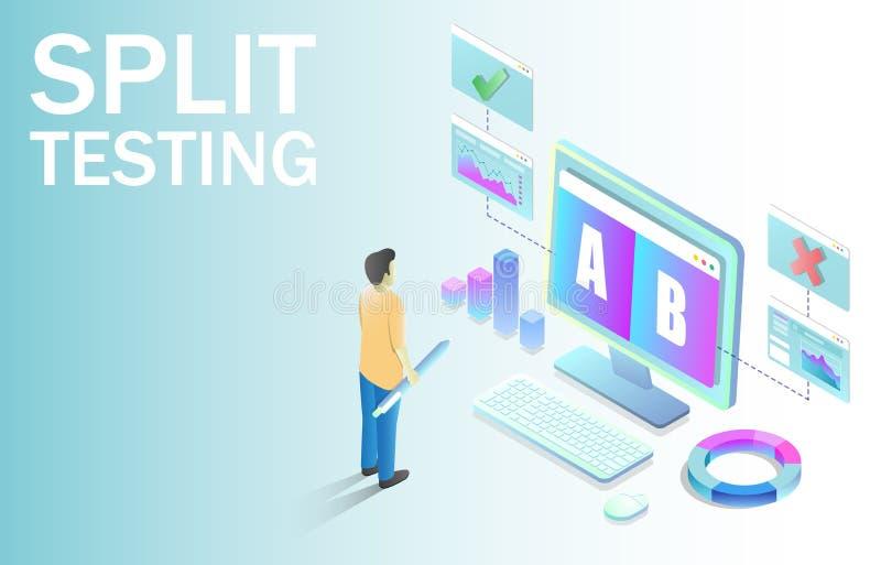 Split testing vector concept for for web banner, website page vector illustration