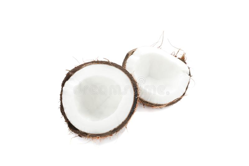 Split tropical coconut isolated royalty free stock photos