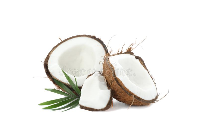 Split tropical coconut isolated stock photography