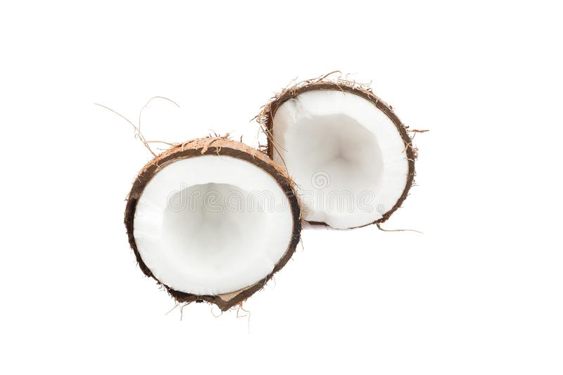 Split tropical coconut isolate royalty free stock photography