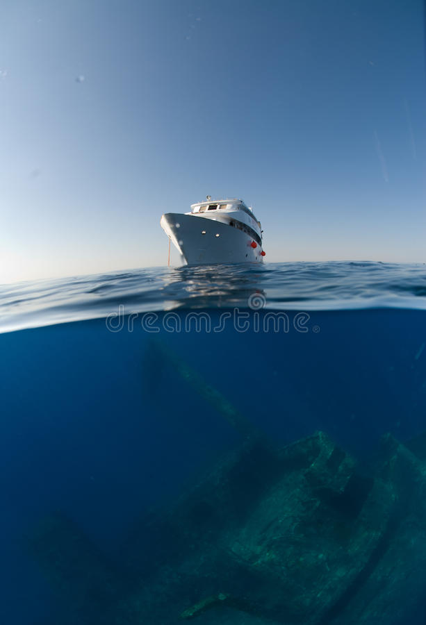 Split view above Gianiss D. Egypt. Taken July 2010, giannis d, red sea, Sha�ab Abu-Nuhas, Split view of a dive boat above the Red Sea shipwreck royalty free stock photos