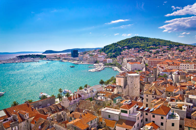 Split waterfront and Marjan hill view. Split waterfront and Marjan hill aerial view, Dalmatia, Croatia royalty free stock photography