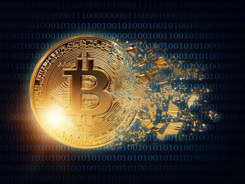 Splited gold bitcoin. On a wdark blue background vector illustration