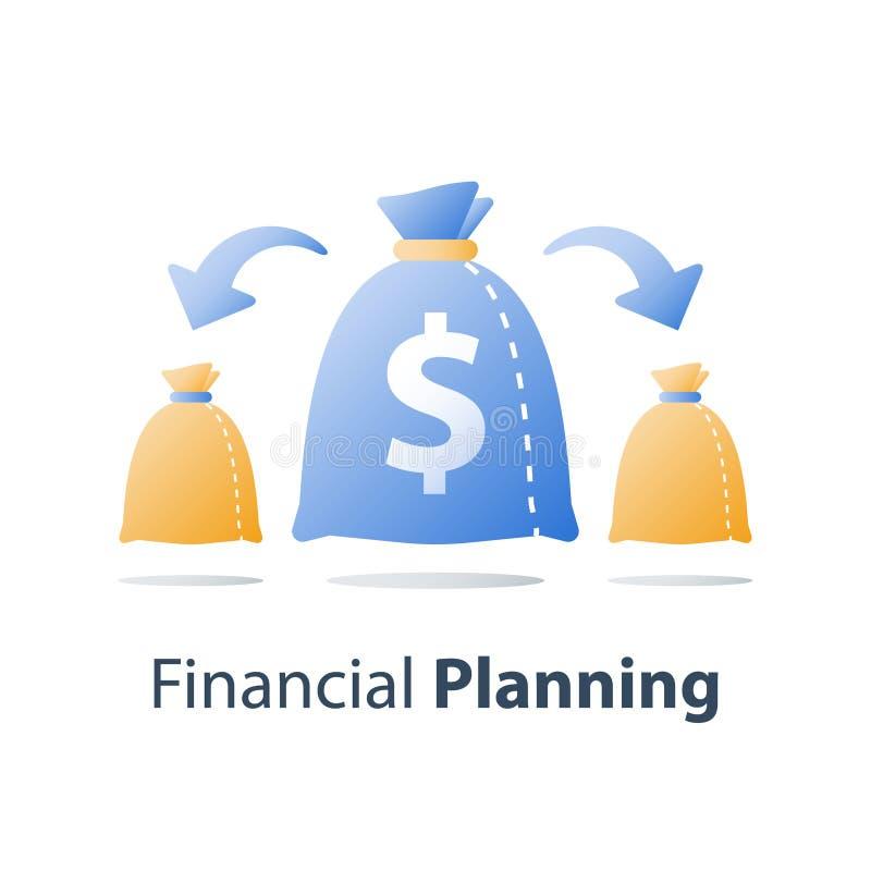 Splitsing van de rekening, toewijzing van activa, financiële distributie, financiële diversificatie, fondsbeheer, rendement van  stock illustratie