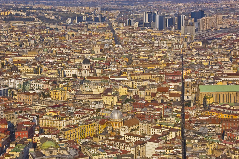 The splitted city. The downtown of naples, italy royalty free stock photography