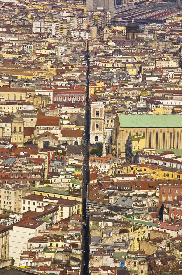 The splitted city, naples, italy. The old downtown of naples, italy stock photo