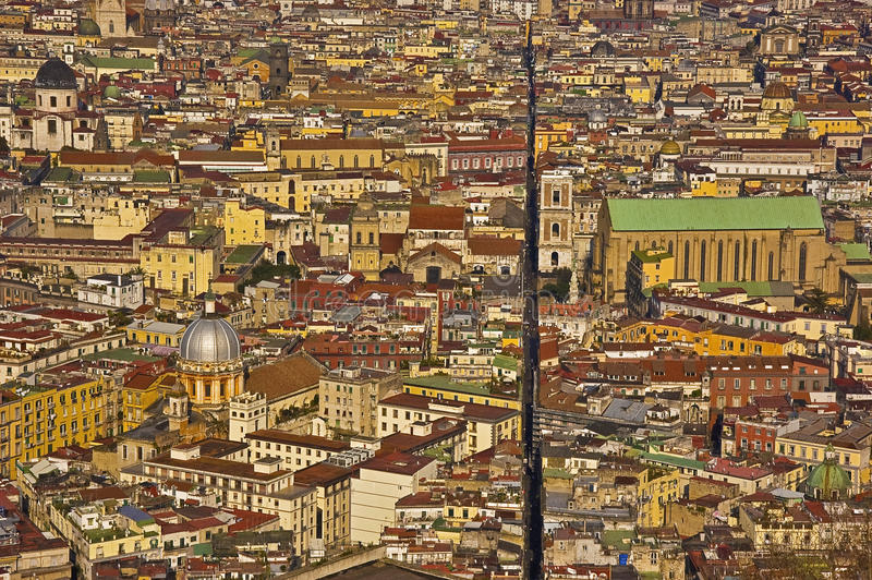 The splitted city, naples, italy. The downtown of Naples, Italy stock image