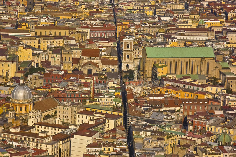 The splitted city, naples, italy. The downtown of Naples, Italy royalty free stock images