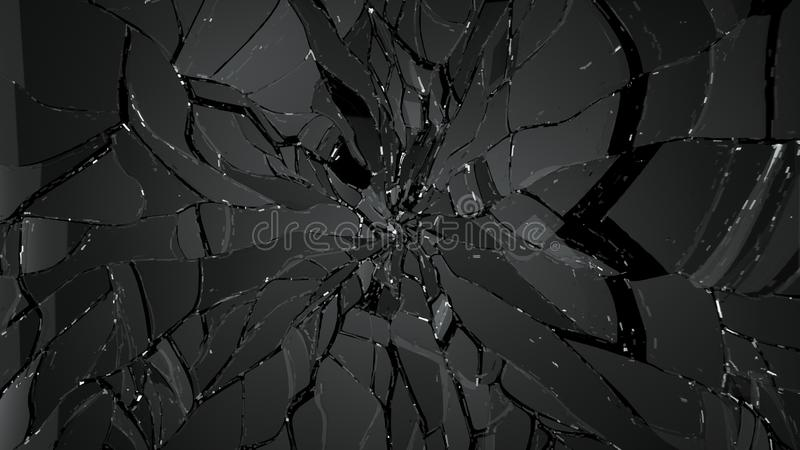 Splitted or cracked glass on black. Large resolution vector illustration