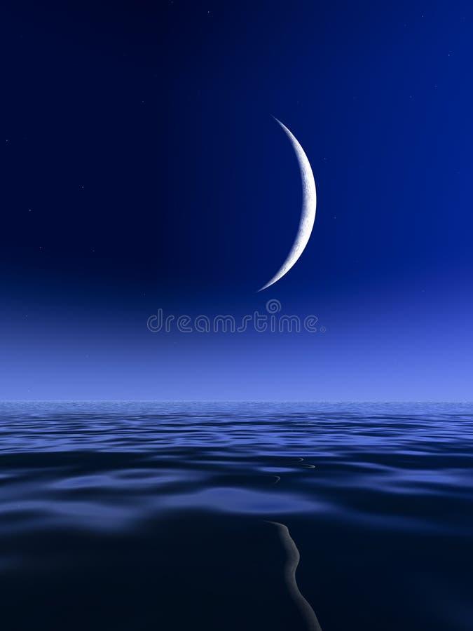 Splitter-Mond über See stock abbildung