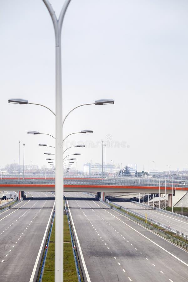 Splitterny bred motorway royaltyfri foto