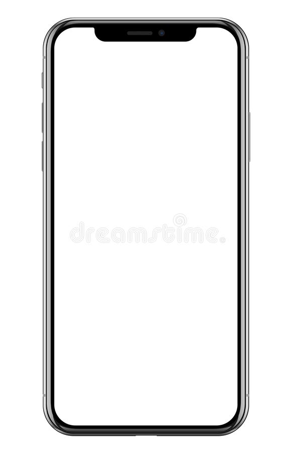 Splitterny realistisk mobiltelefonsvartsmartphone i Apple iPhone X stock illustrationer