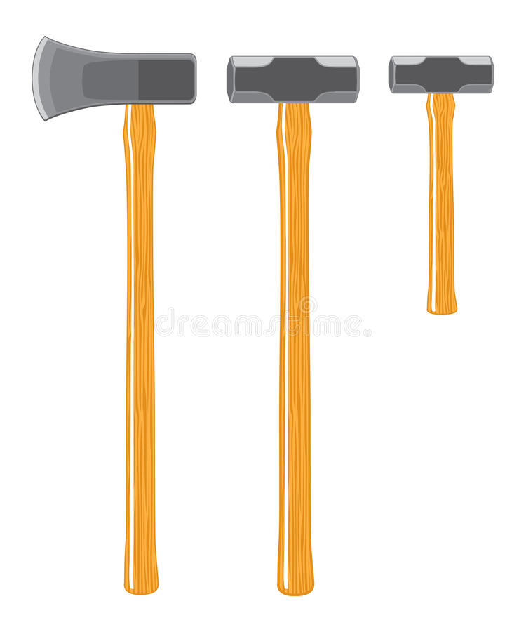 Splitting Maul And Sledge Hammers Stock Images
