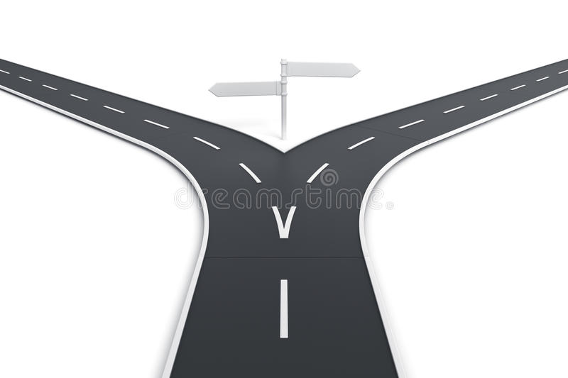 Splitting road with blank road signs royalty free illustration