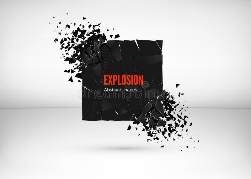 Splittra och effekt för förstörelsemörkerfyrkanten Abstrakt moln av stycken och fragment efter explosion också vektor för coreldr vektor illustrationer