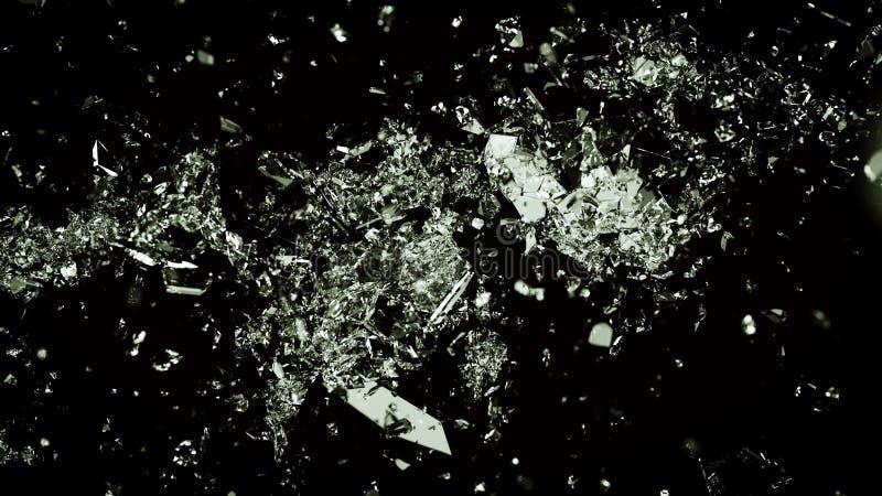 Splittrat och sprucket exponeringsglas på svart bakgrund royaltyfri fotografi