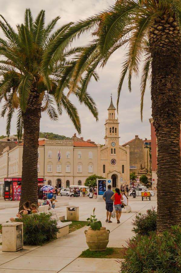 Splittring Dalmatia, Kroatien; 09/07/2018: Splittringstad Hal arkivbild