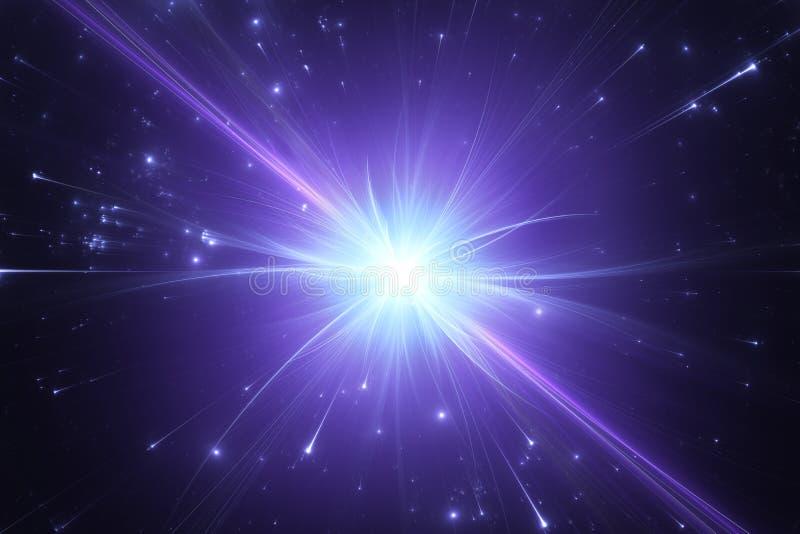 Splittring i hög-energi sammanstötningar mellan atom- och subatomära partiklar royaltyfri illustrationer