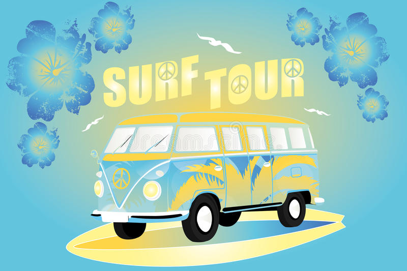 Splitty on surfboard. Colorful Splitty on surfboard illustration with flowers and birds stock illustration