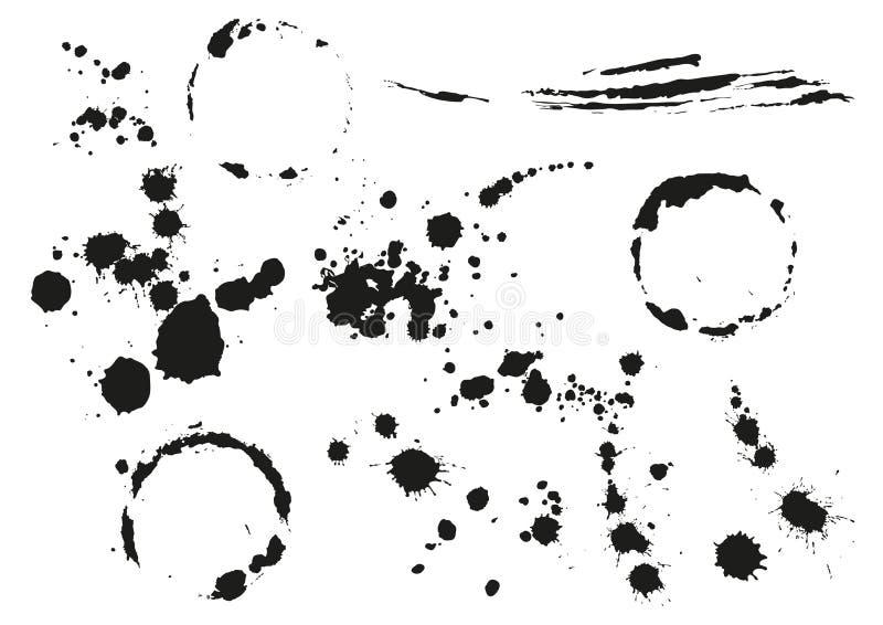 Splotch preto ajustado da mancha Mancha circular ilustração stock