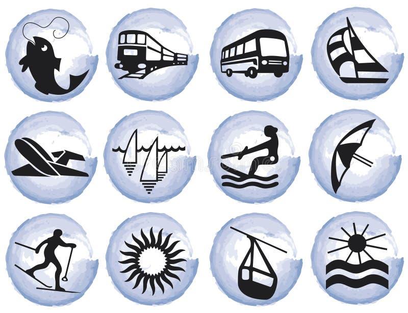 Splotches with tourism symbols stock illustration