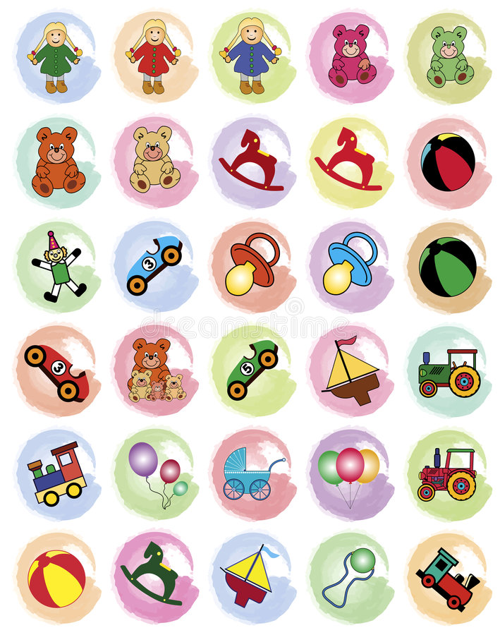 Splotches with toys stock photography