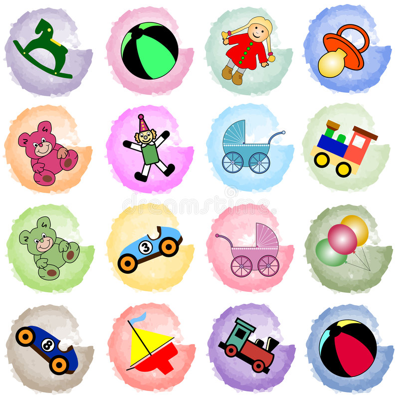 Splotches With Toys Stock Images