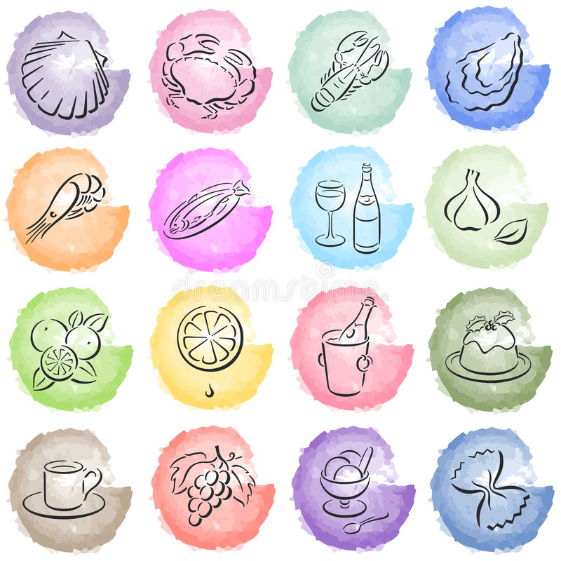 Free Splotches With Food Symbols Stock Photography - 6083292
