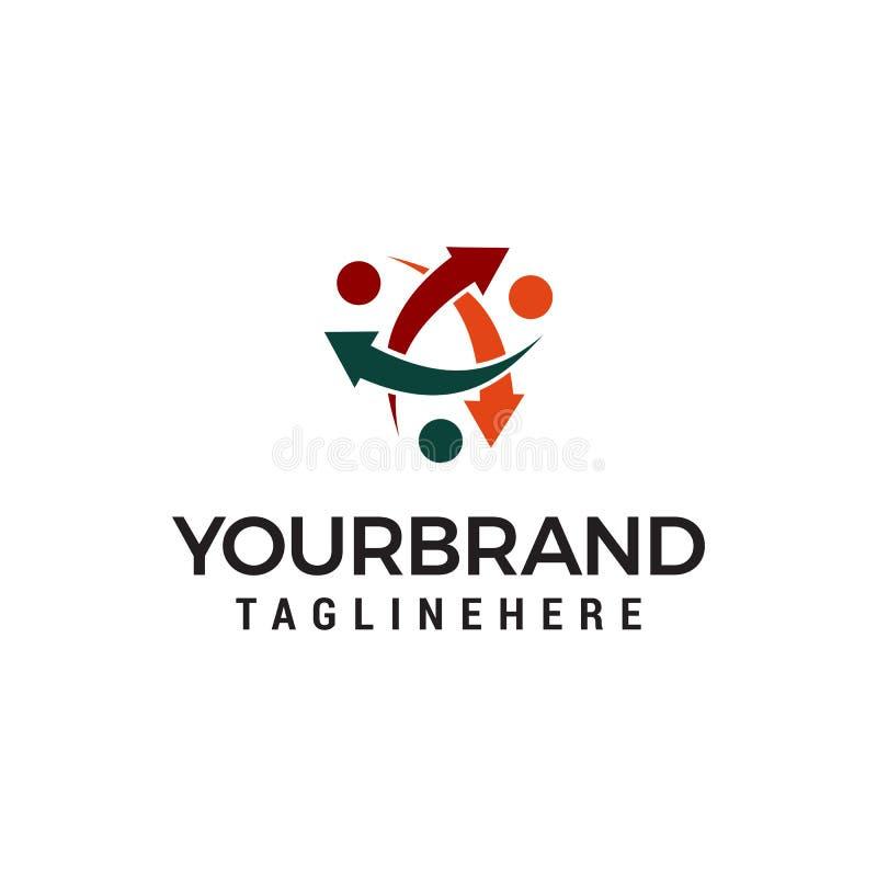 Społeczności ludzie z strzałkowatym okrąża logo szablonem ilustracja wektor