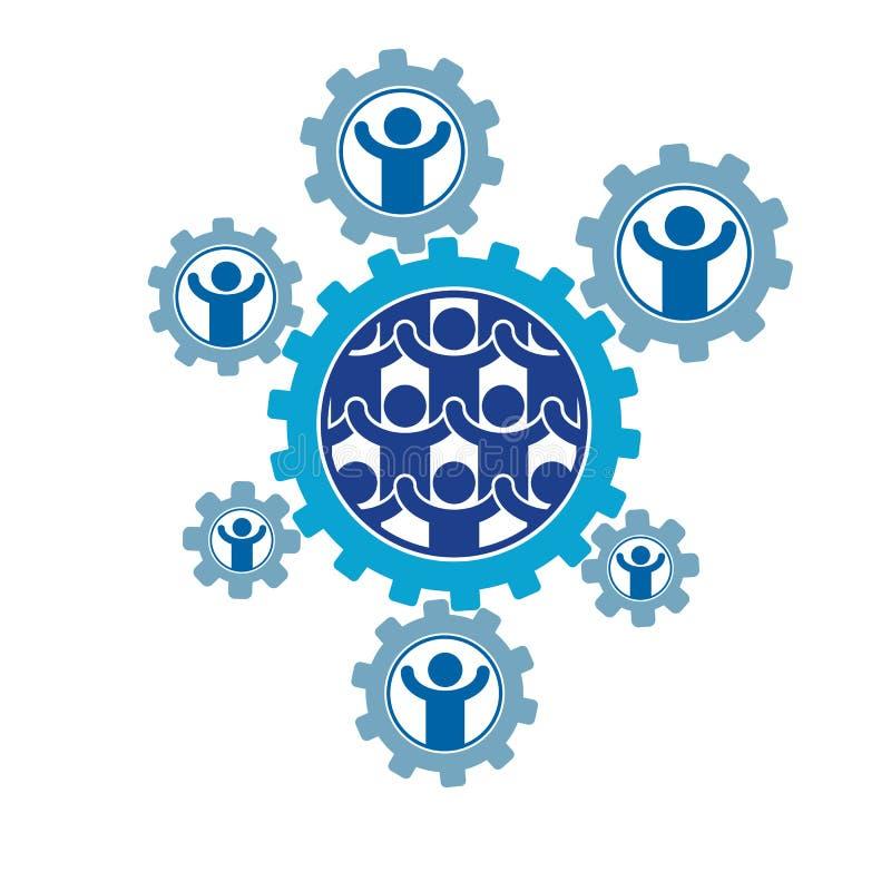Społeczeństwa i osoby interakci kreatywnie logo, unikalny wektorowy symb ilustracja wektor