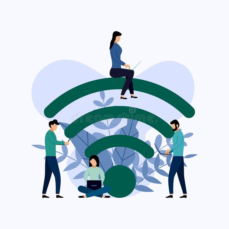 Społeczeństwa wifi punktu zapalnego bezpłatnej strefy bezprzewodowy związek, biznesowy pojęcie ilustracja wektor