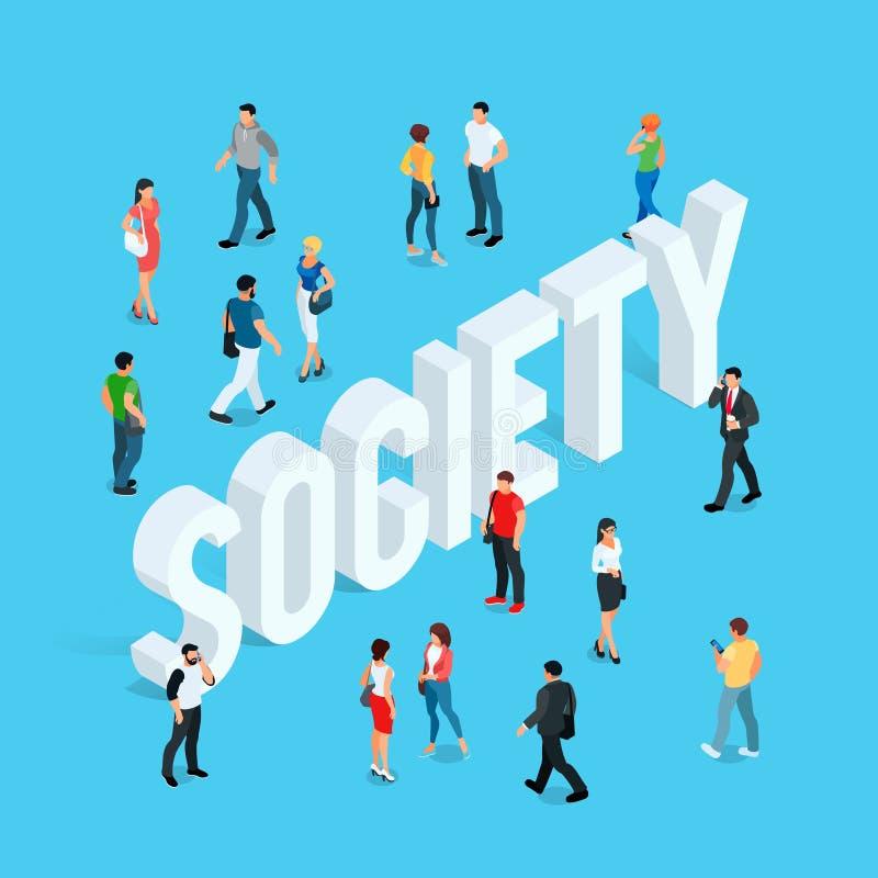 społeczeństwo Isometric ogólnospołeczny pojęcie z ludźmi w różnych pozach royalty ilustracja