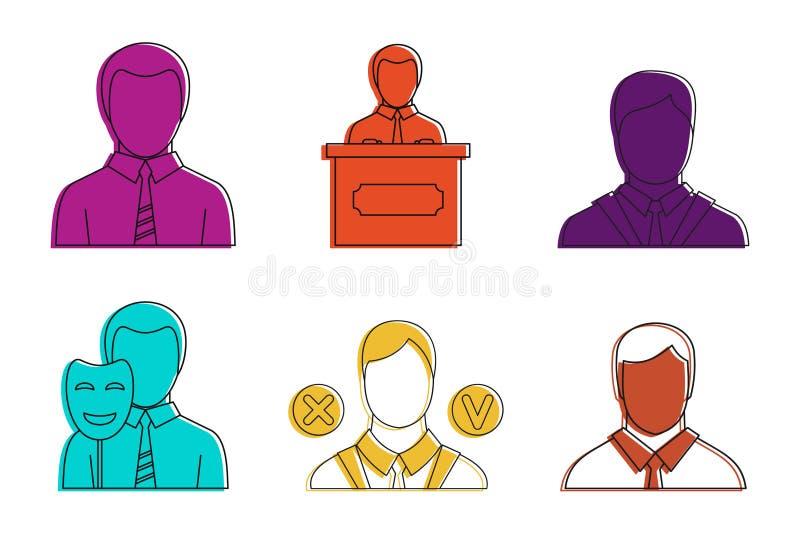 Społeczeństwo mężczyzna ikony set, koloru konturu styl ilustracja wektor