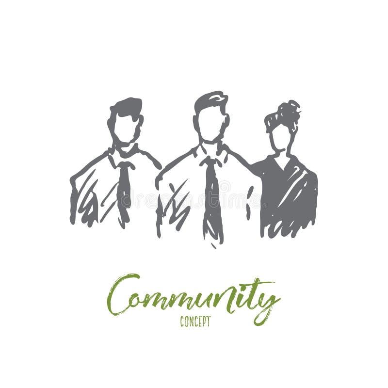 Społeczność, grupa, ludzie, wpólnie, społeczeństwa pojęcie Ręka rysujący odosobniony wektor ilustracji