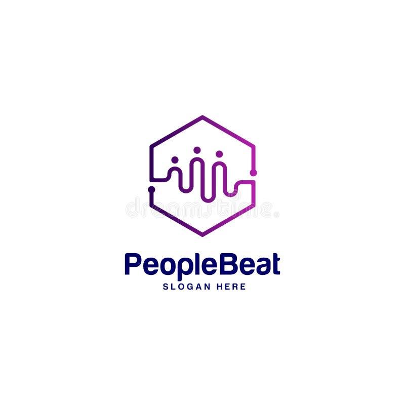 Społeczność logo szablonu projektów pojęć wektorowa ilustracja, ludzie Bije logo pojęcia royalty ilustracja