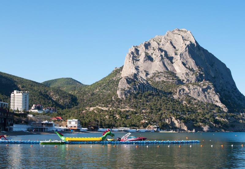 Społeczność miejska Novy Svet i góra Sokol, Crimea zdjęcia stock