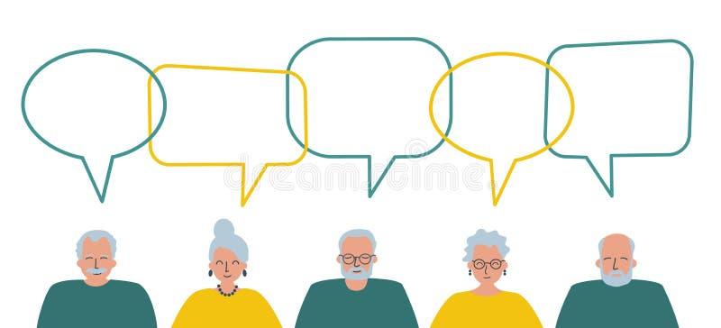 Społeczność osób starszych Informowanie starszych mężczyzn i starszych kobiet royalty ilustracja
