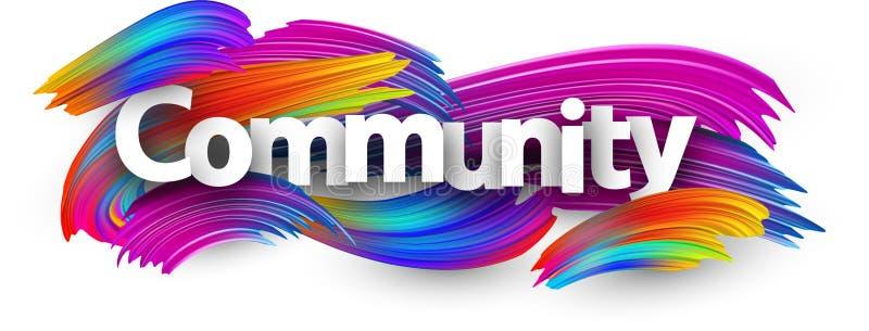 Społeczność papierowy plakat z kolorowymi szczotkarskimi uderzeniami ilustracja wektor