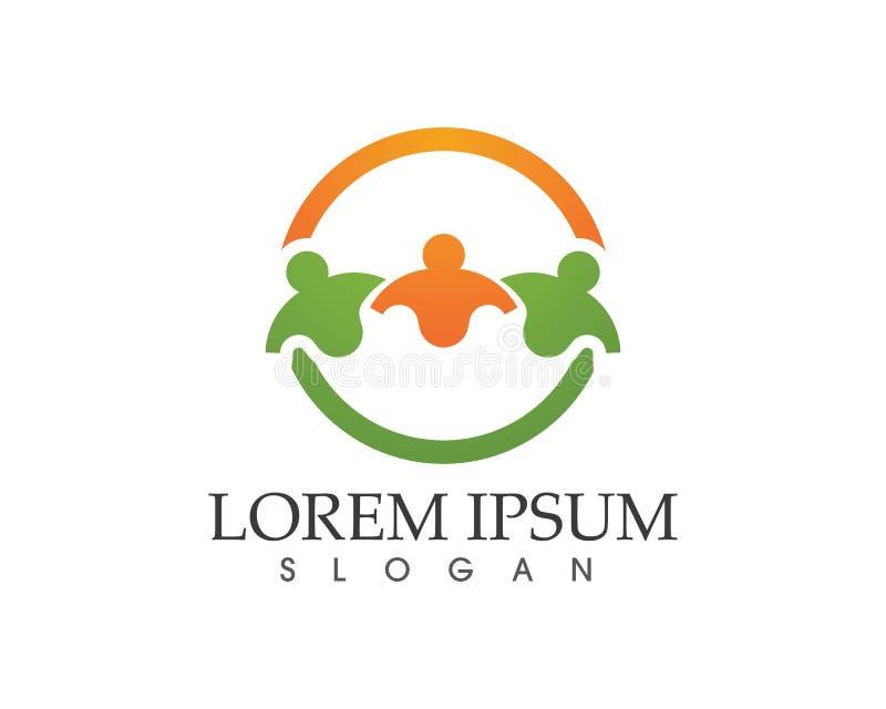 Społeczności ludzie dbają sukcesu i zdrowie życia loga szablonu ikony ilustracja wektor