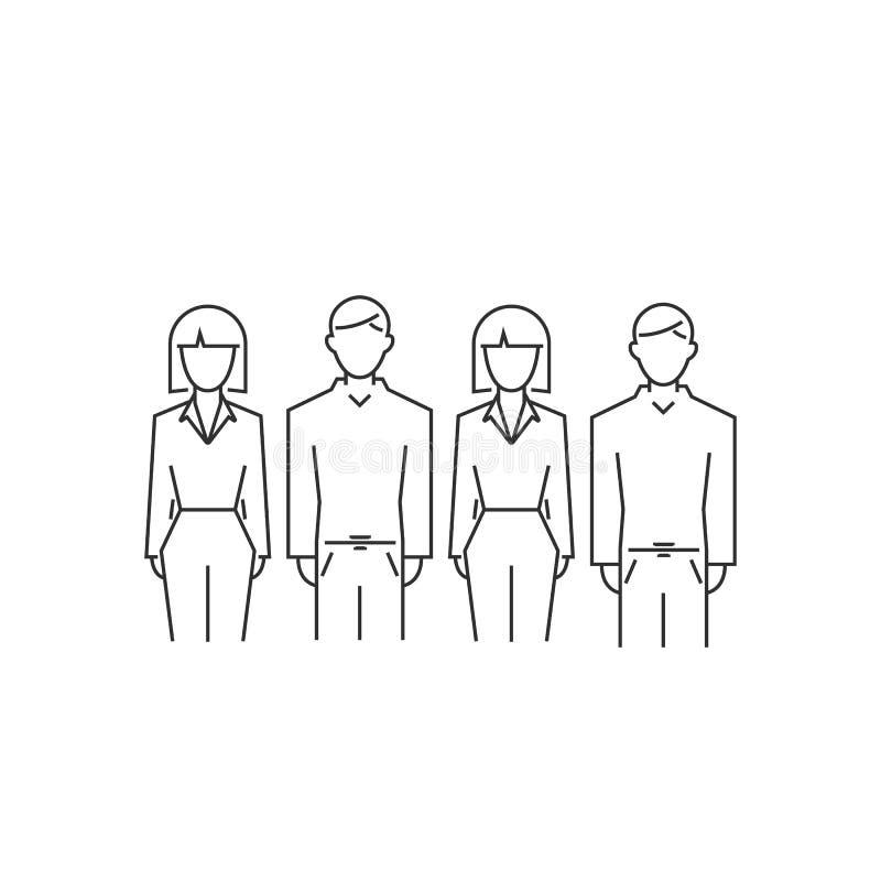 Spo?eczno?ci ikona grupowi ludzie odizolowywający na bielu wektorowego konturu sieci płaski symbol ilustracji