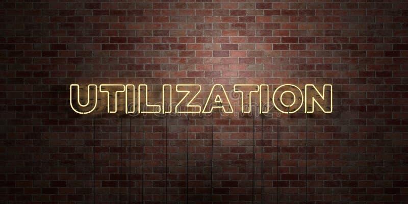 SPOŻYTKOWANIE - fluorescencyjny Neonowej tubki znak na brickwork - Frontowy widok - 3D odpłacający się królewskość bezpłatny akcy ilustracja wektor