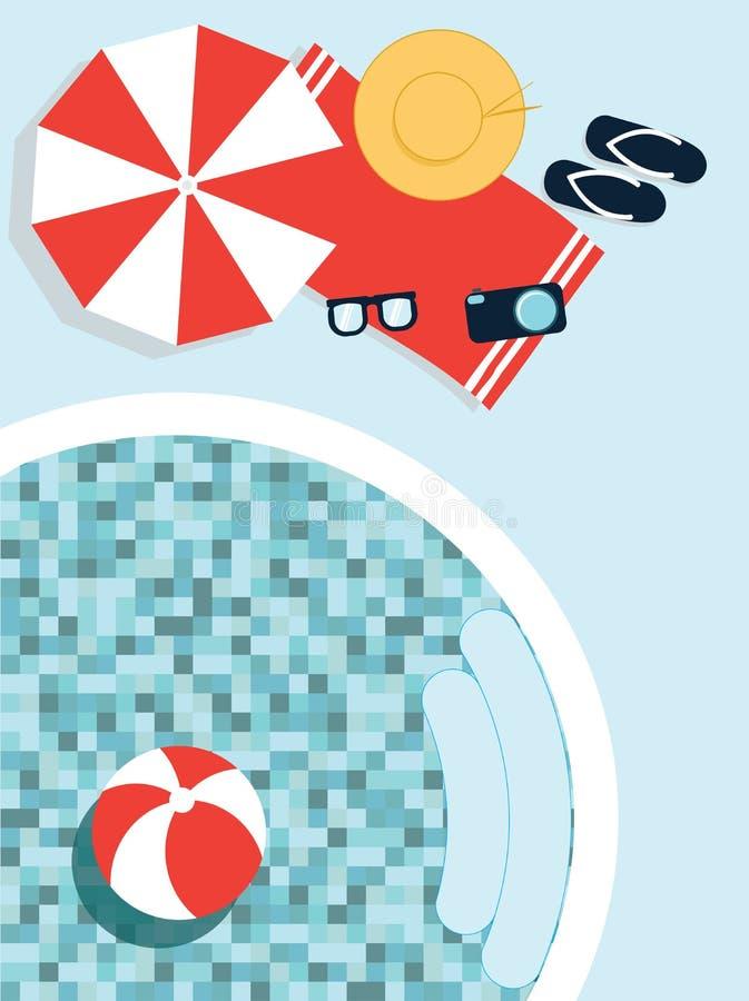 Spoczynkowy materiał blisko pływackiego basenu ilustracja wektor