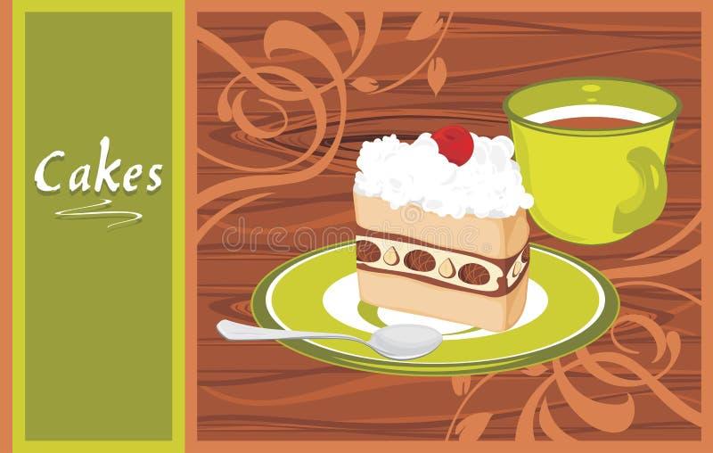 Spodeczek z tortem i filiżanką na drewnianym plecy ilustracja wektor